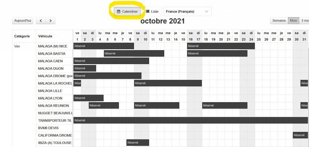 calendrier réservation van away